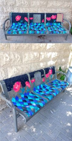 Love these beautiful and inspiring embroidered benches! #diyinspiration