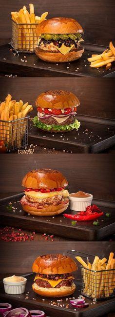 Burger House Photography on Behance - Burger Menu, Gourmet Burgers, Pub Food, Cafe Food, Food Porn, Food Menu Design, Good Food, Yummy Food, Food Wallpaper