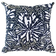 Hand Embroidered on Linen Navy  Design in Australia ships out of Los Angeles  Made In India  Size - 22 x 22  In stock items ship within 48 hours - Out of stock items can take between 4  - 8 weeks.  All products ship free