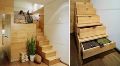 These beautiful wood stairs double as drawers. -- Under the Stairs Storage Ideas 8: Design Arch.