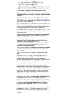 Les impacts de la loi Macron sur l'activité des auto-écoles, Journal du Net, 20 Novembre 2015 (web).