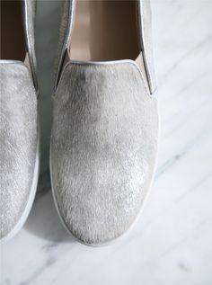Grey slip ons