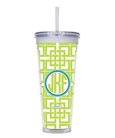 Look at this Lime Abby Monogram Straw Cup on #zulily today!
