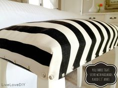 DIY Upholstered Striped Bench (made from a piano bench!) | LiveLoveDIY