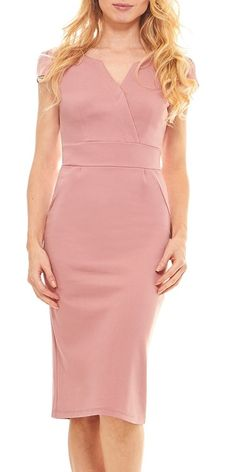 Seranoma Fitted Casual V-Neck Pencil Dress- Cap Sleeve Basic Business Party  Knee Length Dress. Casual Summer Outfits ... df32dee33acd