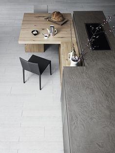 Kitchen: Modern Kitchen Offers Stylish Textural Contrast With Grey Concrete Kitchen Island Also Wodoen Dining Table Plus Black Chairs On Wooden Floor: Designing Minimalist Kitchen Using Minimalist Interiors Design