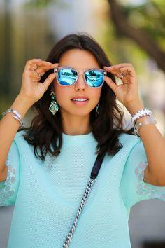 mirrored blue sunglasses