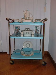 darling vintage cart with Temporama dishes!