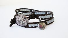 Brown Leather & White Bead Wrap Bracelet by LilacAndButtercup, $23.00