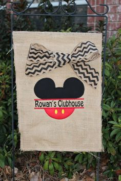 Mickey Mouse birthday party burlap garden flag by stephstowell, $30.00