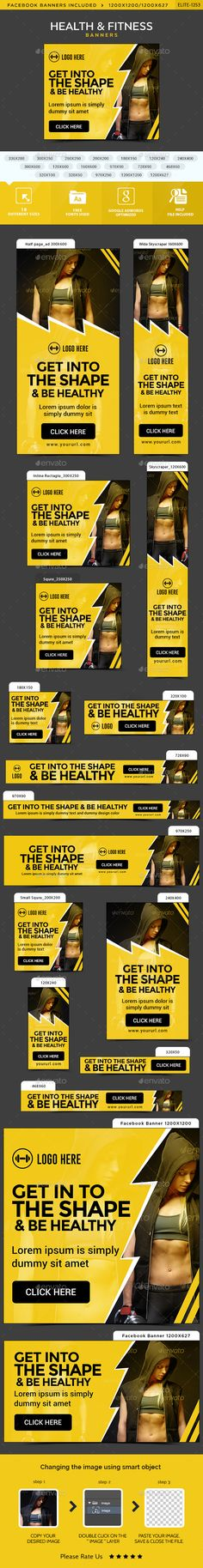 Health & Fitness Web Banners Template PSD. Download here: http://graphicriver.net/item/health-fitness-banners/15159564?ref=ksioks