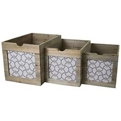 Printed Vintage Ceder Wood Storage Bins Storage Boxes (Set Of 3) (Beige)