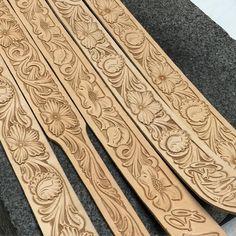 Today's belt tooling. #TannerCustomLeather #tannermade #tannerbeltdesigns #HandMadeNotHomeMade #floraltooledleather #belts www.tannercustomleather.com