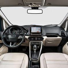 Ford EcoSport 2.0 Titanium 2018: reveladas novas informações sobre o SUV Modelo chegará em meados de agosto totalmente renovado com design dianteiro imponente com grade de controle ativo nova transmissão automática de seis velocidades sistema de conectividade SYNC 3 com tela flutuante de 8 polegadas teto solar elétrico e interior totalmente novo com a cor clara Light Stone. Nessa versão topo de linha o EcoSport vai oferecer  7 airbags  frontais laterais dianteiras de cortina e de joelhos…