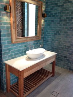 Irregular blu subway tiles by middle earth tiles