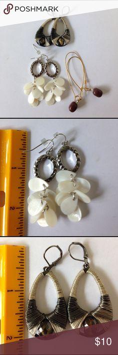Earrings Bundle three pairs Three pairs of really cute earrings!  One pair is Nine West (silver and Gunmetal drop hoops). Don't forget the bundle for even greater savings! 🌸🌼🌸 Nine West Jewelry Earrings