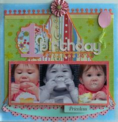"Darling ""1st. Birthday"" Scrapbooking Page...with photos on the party hat.  So Cute!  Picture only for inspiration."