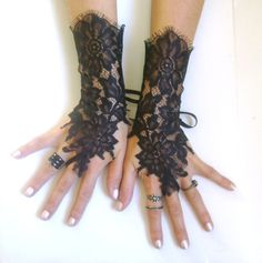 Black lace gloves french lace  bridal  wedding fingerless gloves black gloves burlesque body tattoo   vampire show girl glove