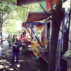 Alder Food Carts in Portland, OR. Great lunch options. I especially love the fried noodles from House of Noodles.