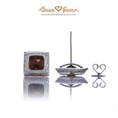Brian Gavin Diamonds 14k white gold bead and bezel stud earrings featuring two 5mm square checkerboard garnet stones. Perfect for a date night out or subtle hint of sparkle!