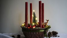 Bastelanleitung für Adventskranz im Vintage Look Advent, Candles, Inspiration, Vintage, Christmas, Nordic Christmas, Natural Materials, Craft Tutorials, Crown Cake