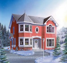 European Victorian House Plan 65573