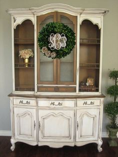 Unbelievable Vintage French Provincial Hutch with White and Natural Wood by European Paint Finishes: The post Vintage French Provincial Hutch with White and Natural Wood by European Paint F… appeared first on Etty Hair Saloon . French Provincial Furniture, French Furniture, Refurbished Furniture, Paint Furniture, Furniture Makeover, Furniture Removal, Country Furniture, Repurposed Furniture, Garden Furniture