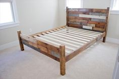Pallet and Barn Wood Queen Bed | 101 Pallets Rustic Bedding, Linen Bedding, Pallet Patio Furniture, Toddler Bed, Bed Sheets, Bedding Sets, Comforters, Bedroom, Frame
