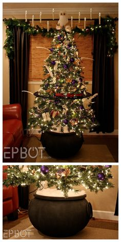 Harry Potter Cauldron Christmas Tree Stand Tutorial from. (True Blue Me and You: DIYs for Creatives) DIY Harry Potter Cauldron Christmas Tree Stand Tutorial from.DIY Harry Potter Cauldron Christmas Tree Stand Tutorial from. Harry Potter Christmas Decorations, Harry Potter Christmas Tree, Hogwarts Christmas, Christmas Tree Themes, Christmas Diy, Holiday Tree, Harry Potter Halloween, Deco Noel Harry Potter, Décoration Harry Potter