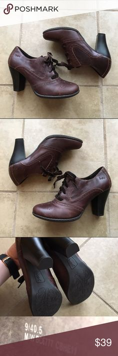 b.o.c by Born Oxford Lace Up Heeled Booties These are just to perfect and super comfy! Velvet ribbon Lace up front. Worn once with price accounting wear (shown in pics). Thanks for looking! b.o.c. Shoes Ankle Boots & Booties