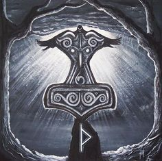 Veðrfölnir and eagle (hawk messenger and seer of wisdom), Mjölnir (the hammer of Thor), and Thurisaz (the thorn rune of resistance, strength, protection). via neil kramer