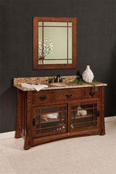 Contemporary Art Sites Amish Morgan Single Bathroom Vanity Cabinet with Inlays
