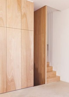 plywood + escalier + placards by Guillaume Terver & Christophe Delcourt Plywood Interior, Interior Stairs, Interior Architecture, Interior And Exterior, Interior Design, Plywood Furniture, Design Furniture, Chair Design, Plywood Wall Paneling