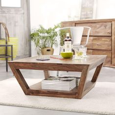 Taper Wooden coffee center table with bottom shelf ! Solid Wood Coffee Table, Coffee Table With Storage, Coffee Tables, Buy Furniture Online, Selling Furniture, Coffee Center, Solid Wood Furniture, Center Table, Home Interior