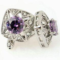Natural Amethyst 925 Sterling Silver Gem Stone Men's Cufflink Jewelery