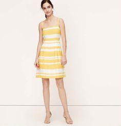 Paintbrush Stripe Pleated Dress | Loft