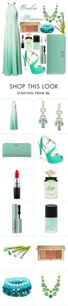 """""""Green Ombre Princess"""" by stylegurlstyle ❤ liked on Polyvore featuring Matthew Williamson, BCBGMAXAZRIA, Zodaca, GUESS, MAC Cosmetics, Dolce&Gabbana, Too Faced Cosmetics, Rimmel, Bdellium Tools and Estée Lauder"""