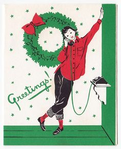 Vintage Greeting Card Christmas Girl Lady Teenager On Telephone Mid Century