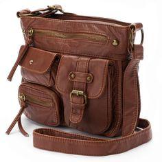 Mudd® Danie Crossbody Bag ($54) ❤ liked on Polyvore featuring bags, handbags, shoulder bags, red, brown handbags, faux leather crossbody, red cross body purse, brown crossbody purse and faux leather shoulder bag