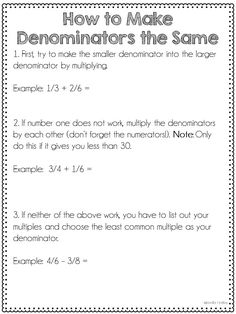 FREE printables for making denominators the same when adding and subtracting fractions