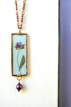 "Purple Clover Friend Necklace Real Dry Pressed Flower, ""Friend"" on Other Side by BayouGlassArts, $38.00"