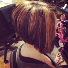 My work of a Side shot of stacked bob with honey highlights