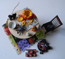 Lot of Miniature Halloween Dollhouse Items.Candy Pumpkin Carving Cat Table Chair