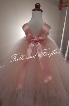 Peach Flower Girl Dress with Peach Satin Flowers by Frills and Fireflies, $55.00