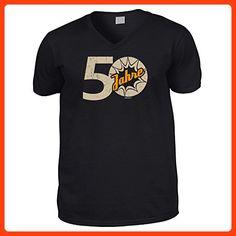 Hochwertiges T-Shirt mit V-Aussschnitt zum 50.Geburtstag : 50 Jahre / 50 Jahre -- Goodman Design® Gr: XXL Farbe: schwarz (*Partner Link)