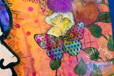 The butterfly was stamped onto another gelli plate print, cut out and glued to the page (to cover a boo-boo).  T