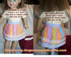 Lace trimmed, Multi-color, Two-Tier Skirt for 18 inch Dolls; Item S-2296-18-AS-09