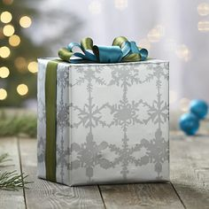 Watercolor Snowflake Gift Wrap in Gift Wrap   Crate and Barrel