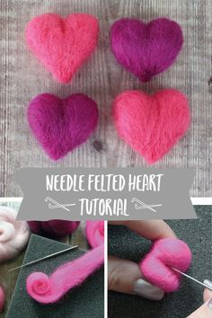 ❤️If you're feeling the love this month then you'll like our online tutorial on how to make a needle felted heart! This technique can be used to make hearts of any size and the making process is a great way to unwind. Beginner Felting, Needle Felting Tutorials, Easy Felt Crafts, Felt Diy, Needle Felted, Christmas Needle Felting, Wool Felting, Felted Scarf, Nuno Felting