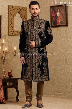 Buy Men's Sherwani-Pakistani Latest Sherwani Designs for Groom 2021-Men's Wear With Dabka, Nagh, Zari, Embroidery In USA, UK, Canada, Australia Visit Now : www.NameerabyFarooq.com or Call / Whatsapp : +1 732-910-5427 Mens Sherwani, Wedding Sherwani, Navy Wedding Colors, Gold Fabric, Traditional Looks, Navy Color, Cotton Silk, On Your Wedding Day